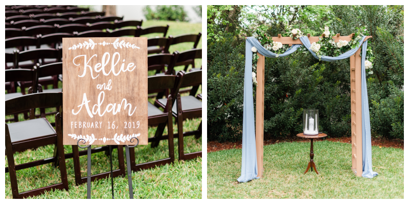 Outdoor Ceremony Archway Arbor Candles Welcome Sign Outdoor Wedding Ceremony | Blue & White Wedding Luxmore Grand Estate Anna Christine Events