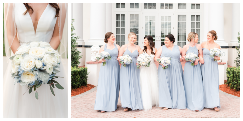 Bridal Bouquet Orlando Flower Market Bride & Bridesmaids Outside Venue One & Only Bridal Stella York| Blue & White Wedding Luxmore Grand Estate Anna Christine Events