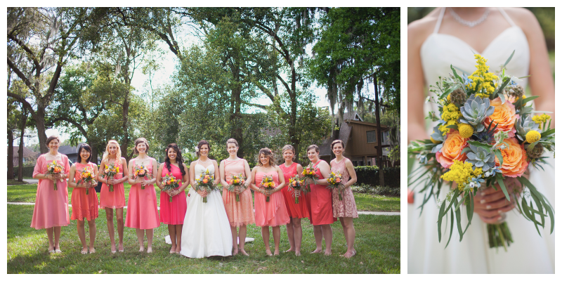 Flowers by Lesley Bride with Bridesmaids Pink Dresses Bouquet with Succulents Flowers Green Orange Yellow | Outdoor Wedding Park Venue Farmer's Market