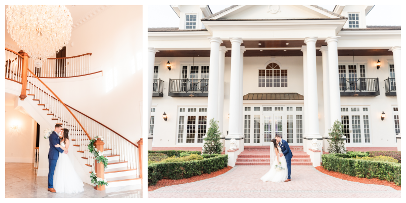 Mansion Columns Venue Stairway Chandelier Bride & Groom | Blue & White Wedding Luxmore Grand Estate Anna Christine Events Orlando