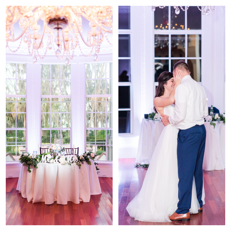 Mr & Mrs Sweetheart Table Chandelier Windows Bride & Groom Dancing at Reception Night | Blue & White Wedding Luxmore Grand Estate Anna Christine Events