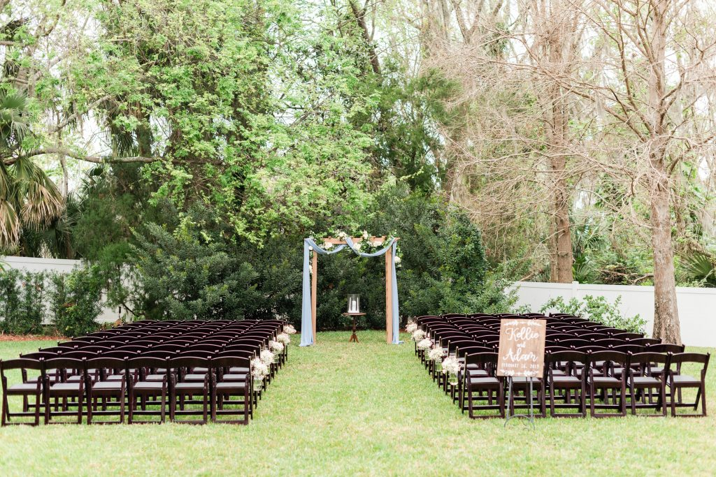 Outdoor Archway Chiavari Chairs Welcome Sign | Blue & White Wedding Luxmore Grand Estate Anna Christine Events