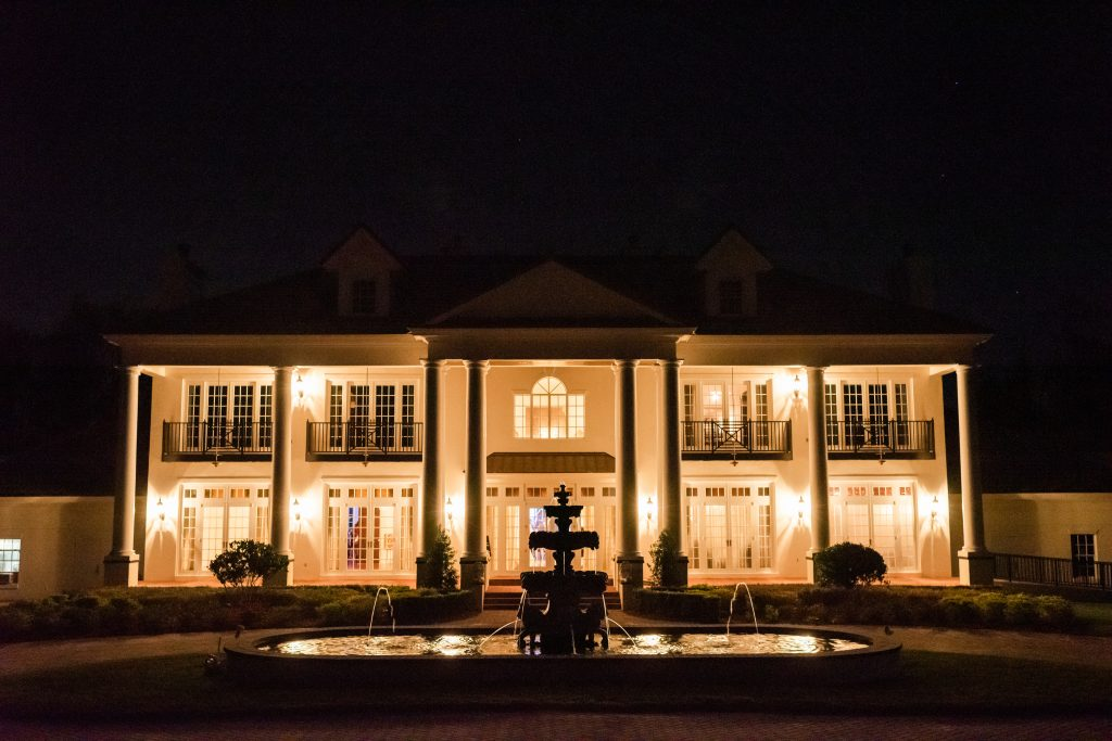 Nighttime at Venue Reception Fountain Mansion | Blue & White Wedding Luxmore Grand Estate Anna Christine Events