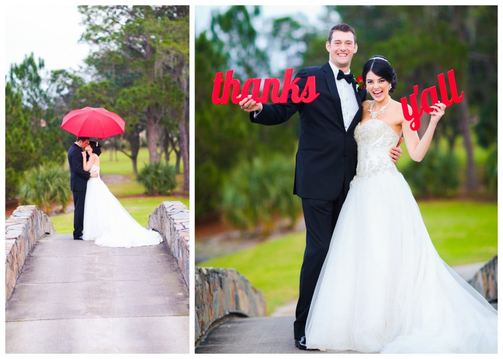 "Wedding Photo Shoot Bride & Groom ""Thanks Y'all"" Signs Umbrella Red Bridge Outdoor 