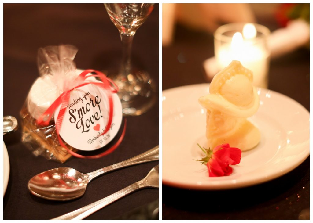 Reception Table Setting Fancy Butter Knight S'More Favor | Red & Black Wedding Classic Romantic Dark Mission Inn Resort Anna Christine Events Wings of Glory Photography