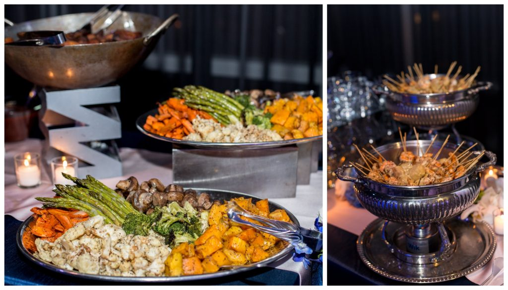 Arthur's Catering Buffet | Blue & White Glamorous Wedding The Abbey The Mezz Anna Christine Events Kathy Thomas Photography