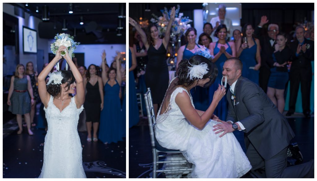 Bouquet Garter Toss Reception | Blue & White Glamorous Wedding The Abbey The Mezz Anna Christine Events Kathy Thomas Photography