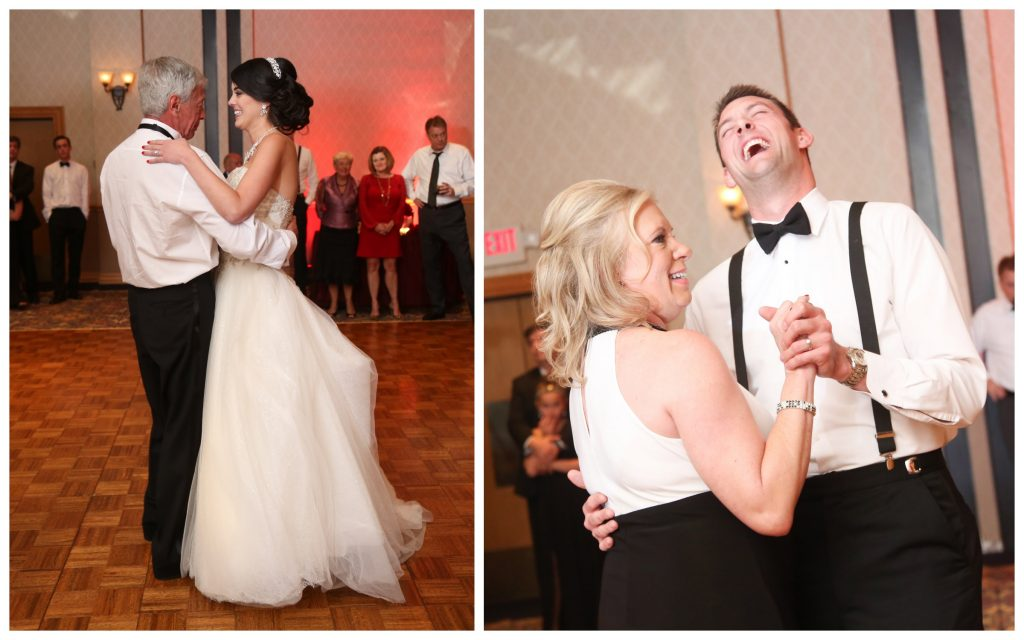 Parent Dances Mother-Son Father-Daughter | Red & Black Wedding Classic Romantic Dark Mission Inn Resort Anna Christine Events Wings of Glory Photography