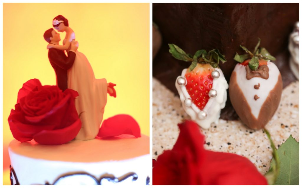 Wedding Cake Groom Cake Details Chocolate Dipped Strawberries Bride & Groom Topper | Red & Black Wedding Classic Romantic Dark Mission Inn Resort Anna Christine Events Wings of Glory Photography