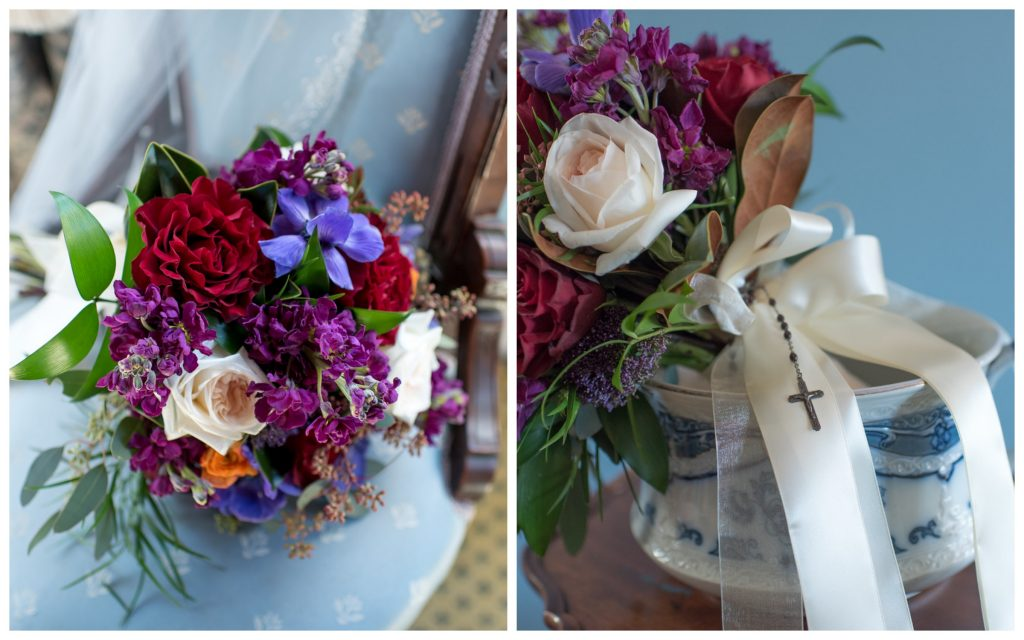 Bridal Bouquet Rosary Flowers by Lesley | Classic Purple & Orange Wedding Football Texas Longhorns Sports Lake Lucerne Courtyard Anna Christine Events Orlando Kathy Thomas Photography