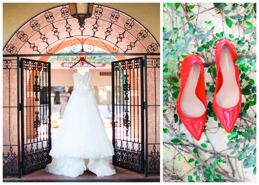 Wedding Dress Hanging Red Shoes | Red & Black Wedding Classic Romantic Dark Mission Inn Resort Anna Christine Events Wings of Glory Photography
