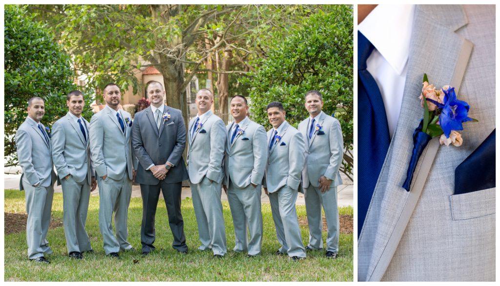 Guys Groomsmen Groom Boutonniere | Blue & White Glamorous Wedding The Abbey The Mezz Anna Christine Events