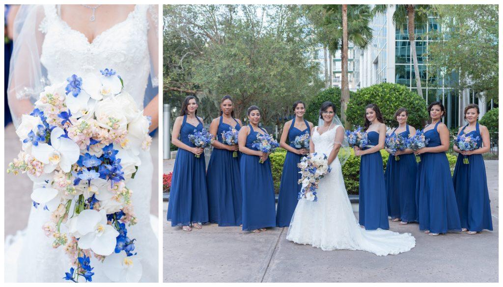 Bride Bridesmaids Girls Ladies Bouquet Raining Roses | Blue & White Glamorous Wedding The Abbey The Mezz Anna Christine Events