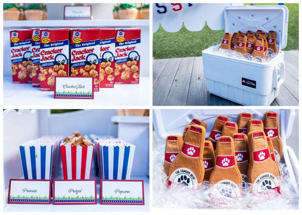 Baseball Snacks Peanuts Pretzels Popcorn Cracker Jacks Dog Favors Puppy Chew Toys | Carter the Corgi Birthday Party Baseball Theme Orlando Canine Country Club Anna Christine Events Cute
