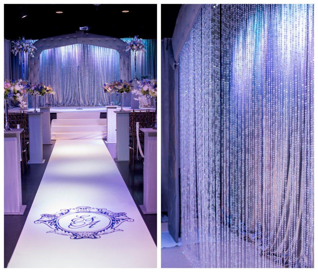 Aisle Bride & Groom Ceremony Beaded Curtain | Blue & White Glamorous Wedding The Abbey The Mezz Anna Christine Events