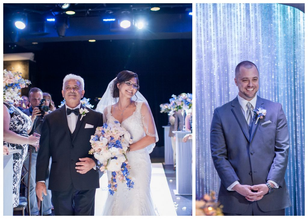 Bride & Groom First Look Aisle Ceremony | Blue & White Glamorous Wedding The Abbey The Mezz Anna Christine Events