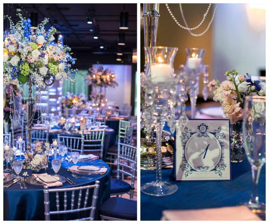 Reception Tables Table Number Cards Floral Centerpieces | Blue & White Glamorous Wedding The Abbey The Mezz Anna Christine Events Kathy Thomas Photography
