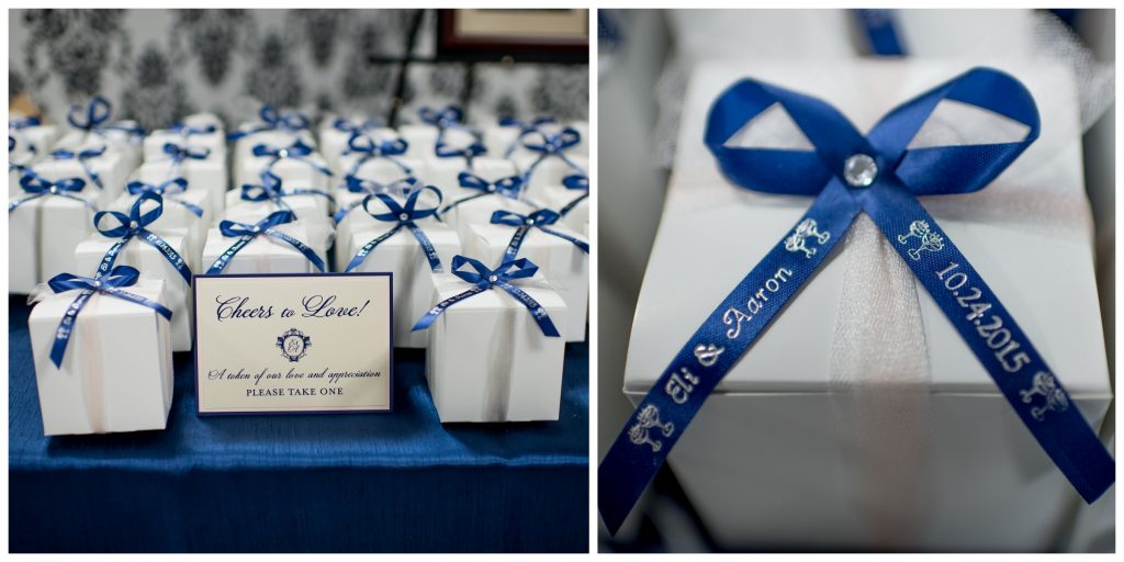 Favor Boxes Reception | Blue & White Glamorous Wedding The Abbey The Mezz Anna Christine Events Kathy Thomas Photography