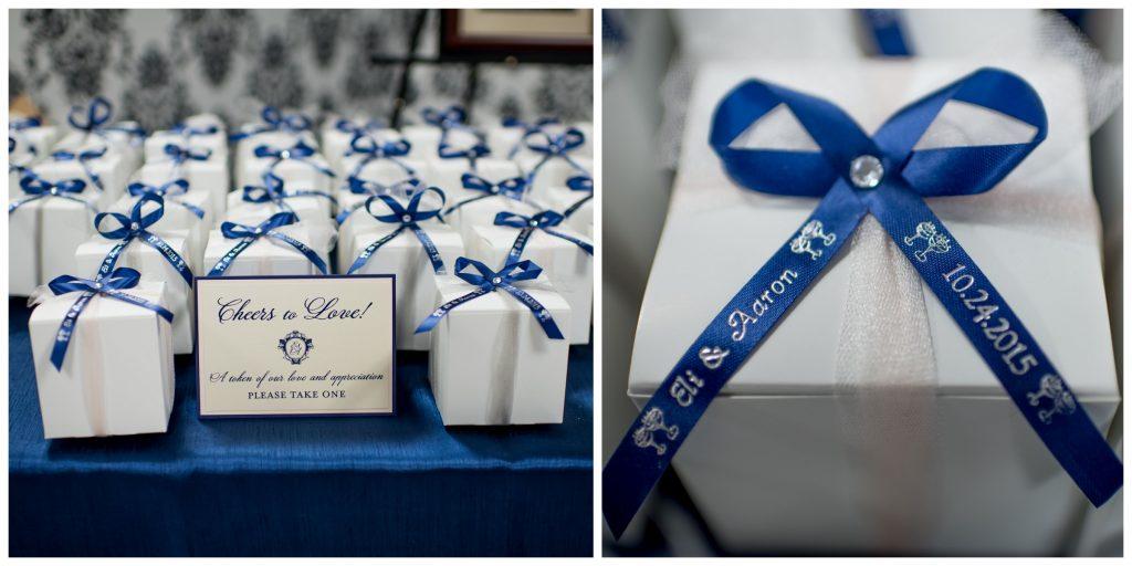 Favor Boxes Reception | Blue & White Glamorous Wedding The Abbey The Mezz Anna Christine Events Kathy Thomas Photography