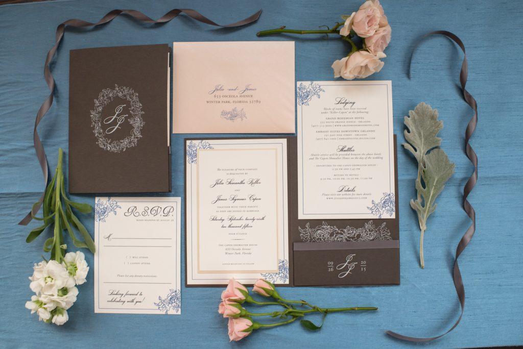 Invitation Save the Date Dogwood Blossom Stationary | Wedding Photo Shoot Historic Estate Capen Showalter House Serenity Rose Quartz Florida Anna Christine Events
