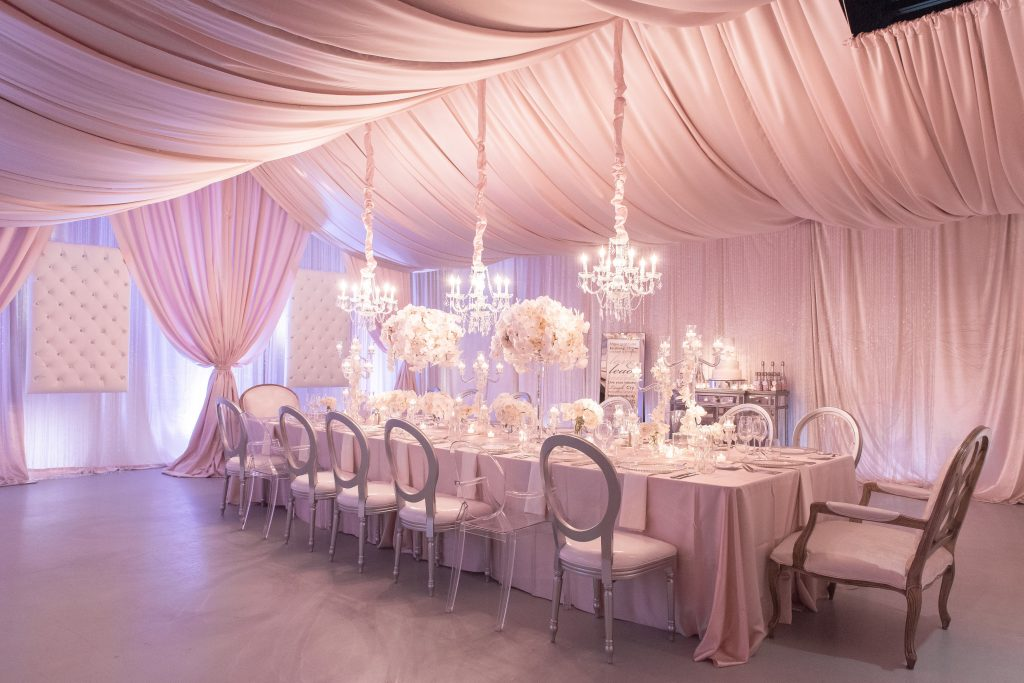 Table Setting A Chair Affair Over the Top Chandeliers | Our DJ Rocks 5 Year Anniversary Party Heaven Event Center Anna Christine Events