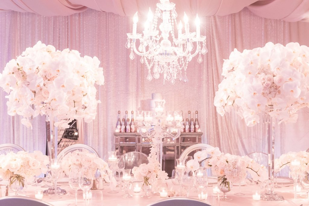 Table Decor Florals Raining Roses Candelabra | Our DJ Rocks 5 Year Anniversary Party Heaven Event Center Anna Christine Events