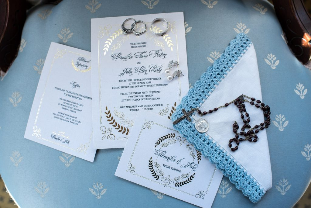 Invitations Save the Date Rosary | Classic Purple & Orange Wedding Football Texas Longhorns Sports Lake Lucerne Courtyard Anna Christine Events Orlando Kathy Thomas Photography