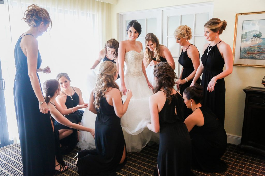 Bride Wedding Dress Bridesmaids Black Dresses Getting Ready | Red & Black Wedding Classic Romantic Dark Mission Inn Resort Anna Christine Events Wings of Glory Photography