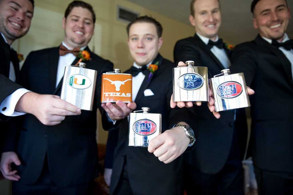 Groom Groomsmen Flasks Sports Teams | Classic Purple & Orange Wedding Football Texas Longhorns Sports Lake Lucerne Courtyard Anna Christine Events Orlando Kathy Thomas Photography