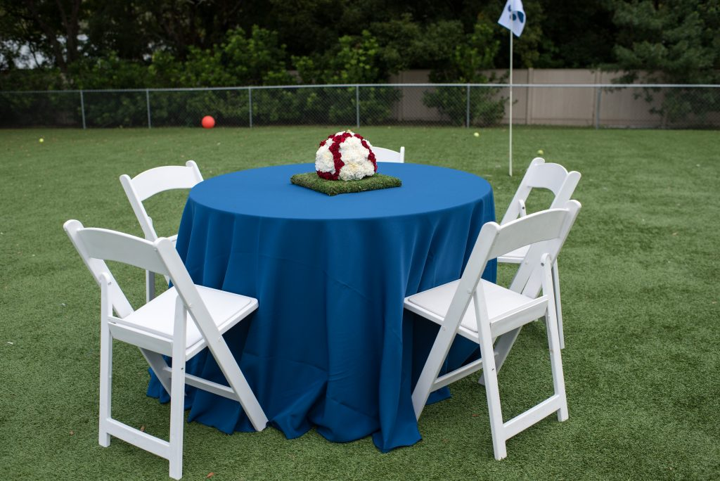 Flowers by Lesley Floral Arrangement Table Turf | Carter the Corgi Birthday Party Baseball Theme Orlando Canine Country Club Anna Christine Events Cute