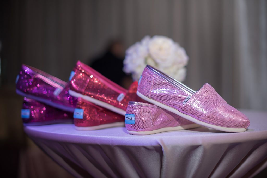 Sparkly Toms Red Pink | Our DJ Rocks 5 Year Anniversary Party Heaven Event Center Anna Christine Events