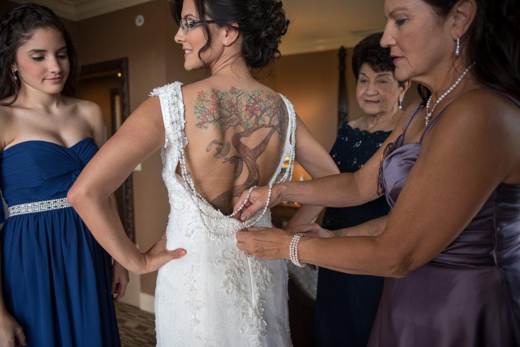 Back Tattoo Tree Bride Wedding Dress | Blue & White Glamorous Wedding The Abbey The Mezz Anna Christine Events