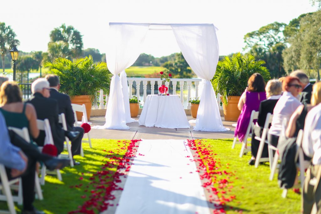 Ceremony Rose Petals Aisle | Red & Black Wedding Classic Romantic Dark Mission Inn Resort Anna Christine Events Wings of Glory Photography