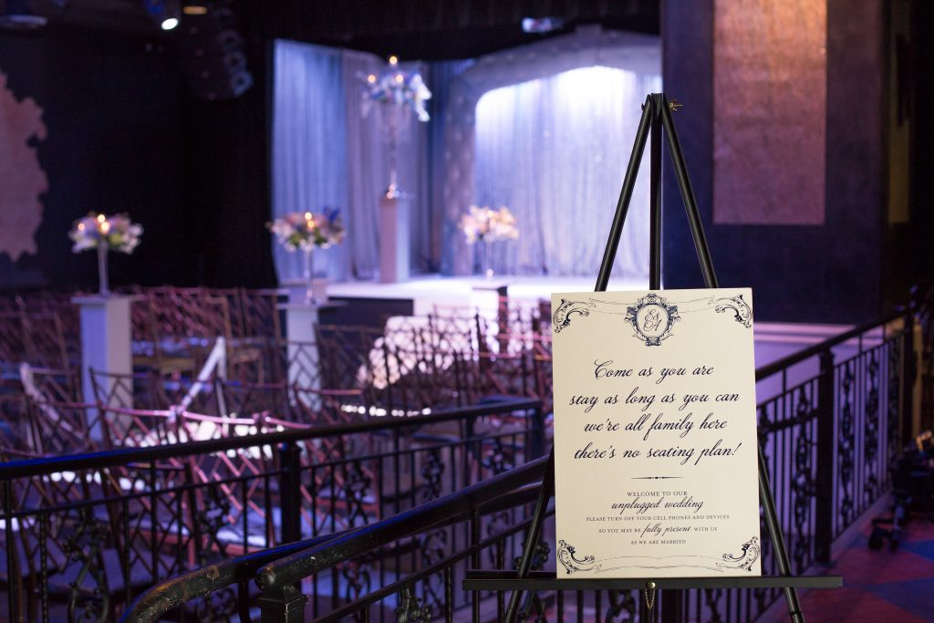 Ceremony Unplugged Sign Seating | Blue & White Glamorous Wedding The Abbey The Mezz Anna Christine Events