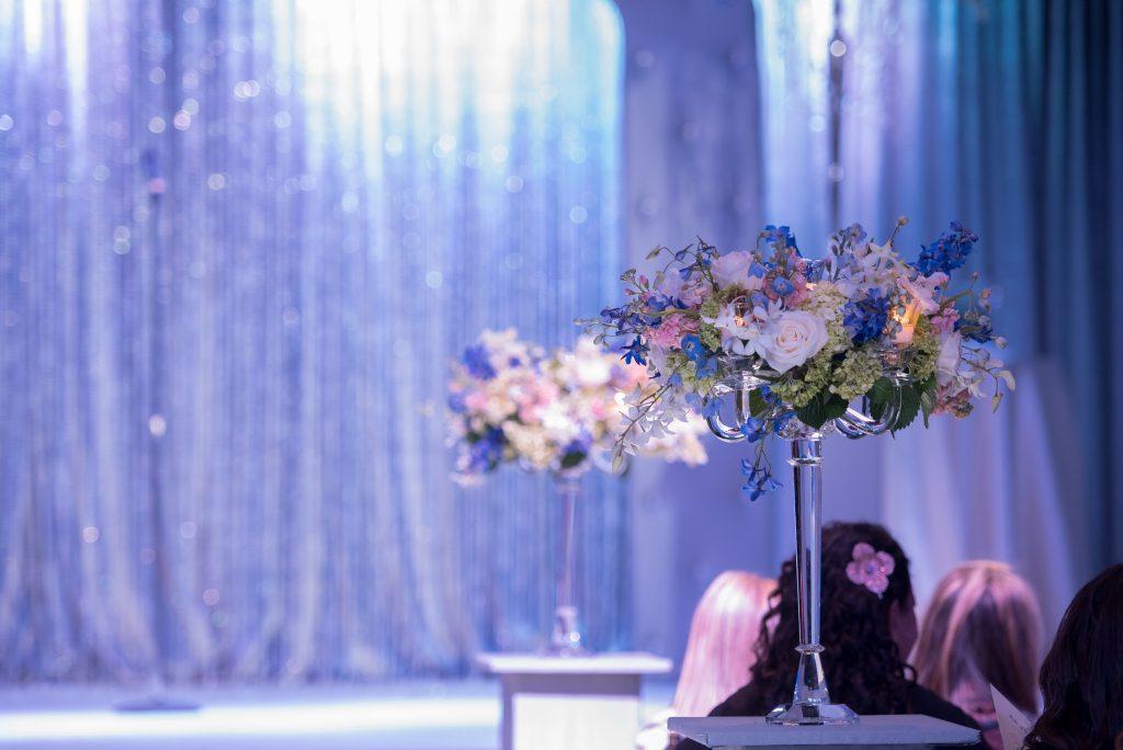 Ceremony Aisle Decor Flowers Floral Raining Roses | Blue & White Glamorous Wedding The Abbey The Mezz Anna Christine Events