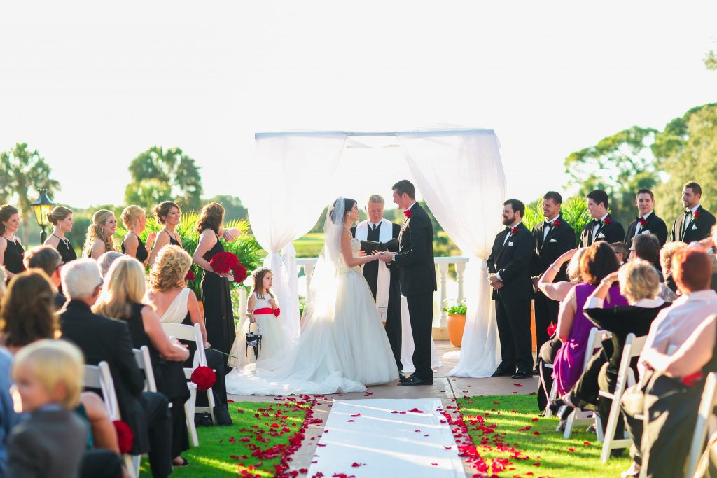 Wedding Ceremony Arbor White Fabric | Red & Black Wedding Classic Romantic Dark Mission Inn Resort Anna Christine Events Wings of Glory Photography