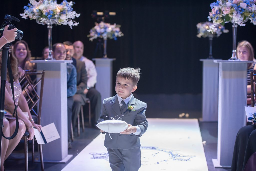 Ring Bearer Ceremony | Blue & White Glamorous Wedding The Abbey The Mezz Anna Christine Events