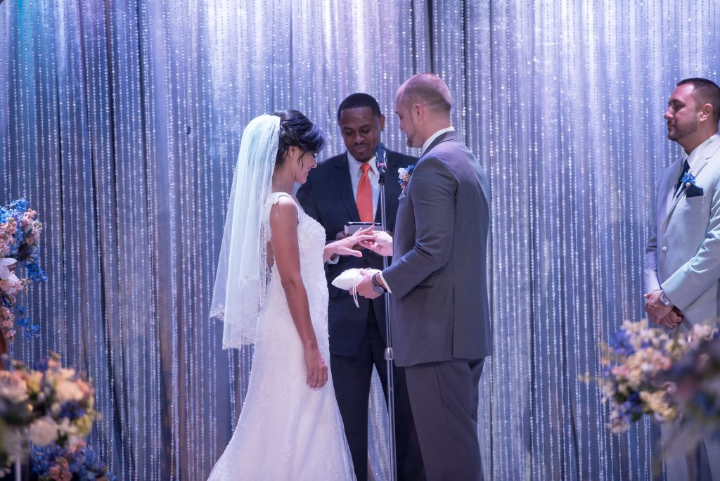 Ceremony Rings Bride & Groom Exchange | Blue & White Glamorous Wedding The Abbey The Mezz Anna Christine Events