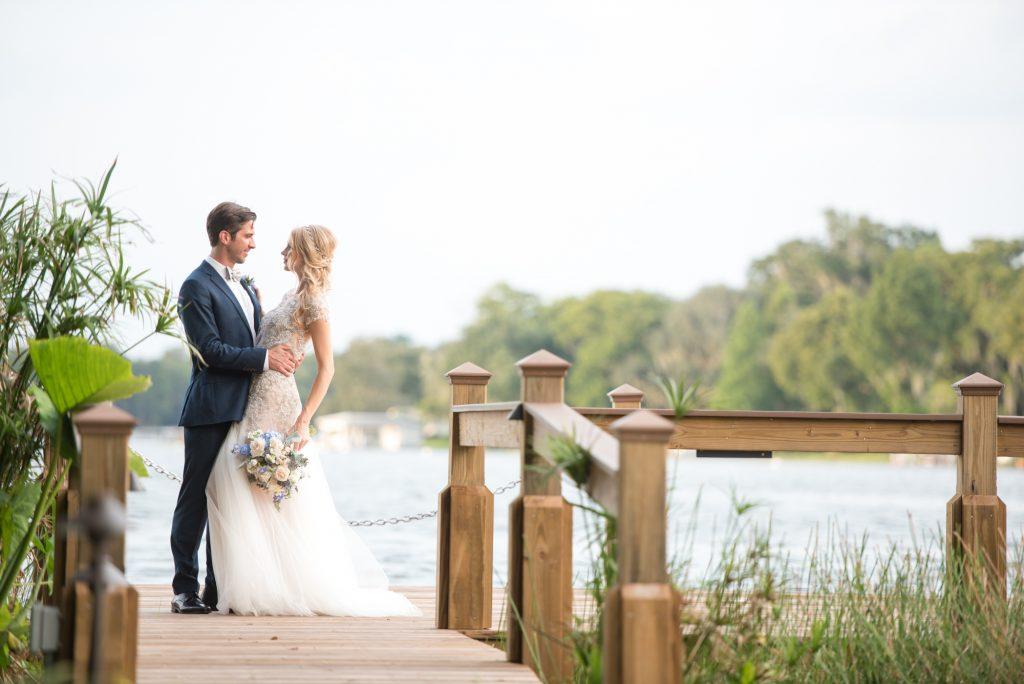 Couple Dock Bride & Groom | Wedding Photo Shoot Historic Estate Capen Showalter House Serenity Rose Quartz Florida Anna Christine Events