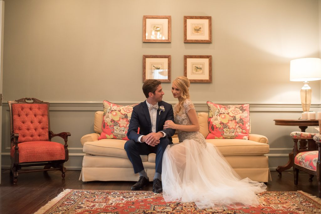 Bride & Groom Inside Couch | Wedding Photo Shoot Historic Estate Capen Showalter House Serenity Rose Quartz Florida Anna Christine Events