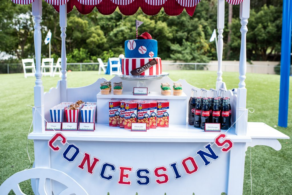 Concession Stand Snacks Cut the Cake Dog-Friendly Pupcakes Cupcakes Baseball Bat Hat | Carter the Corgi Birthday Party Baseball Theme Orlando Canine Country Club Anna Christine Events Cute