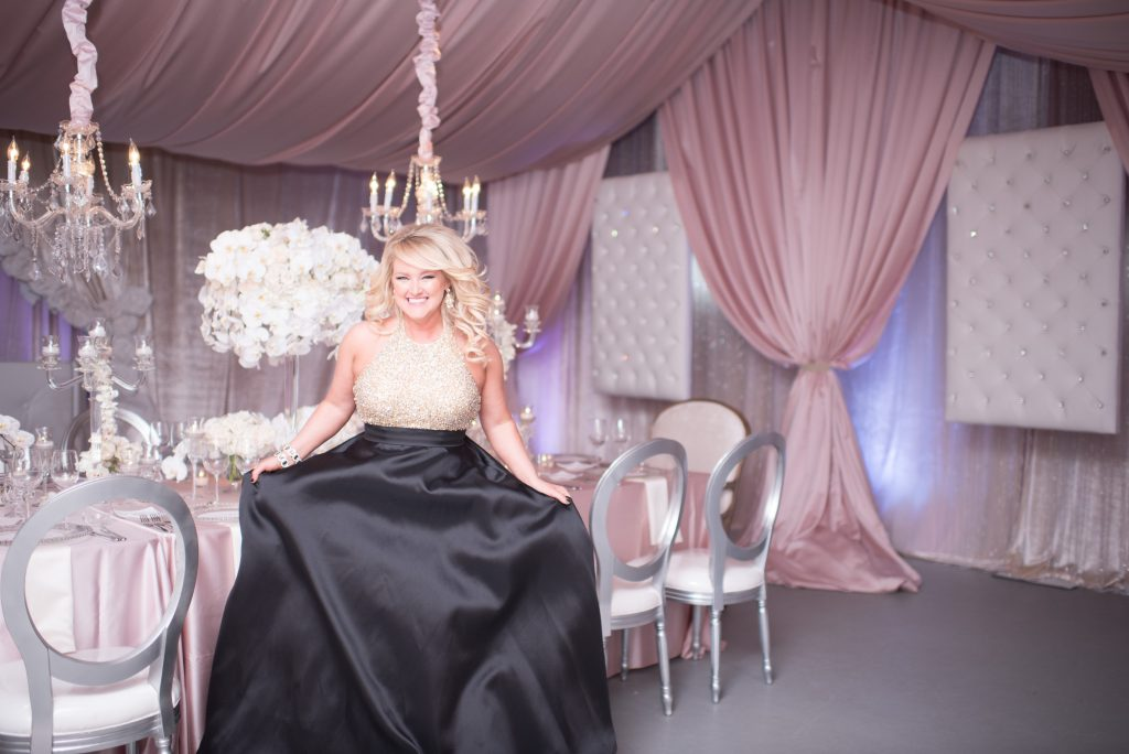 Kristin Gown Tables | Our DJ Rocks 5 Year Anniversary Party Heaven Event Center Anna Christine Events