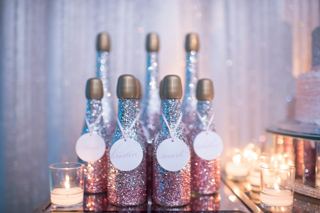 Champagne Bottles Sparkly Favors | Our DJ Rocks 5 Year Anniversary Party Heaven Event Center Anna Christine Events