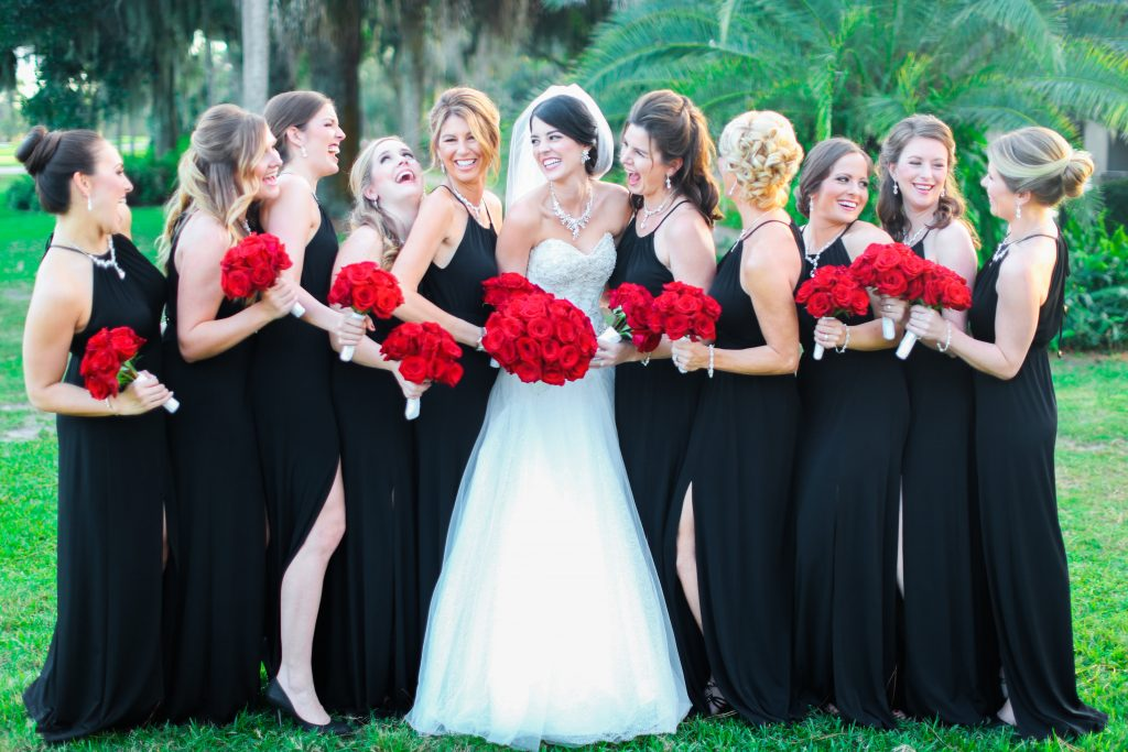 Bride & Bridesmaids Photo Bouquets Red Roses Black Dresses Lee Forrest Design | Red & Black Wedding Classic Romantic Dark Mission Inn Resort Anna Christine Events Wings of Glory Photography