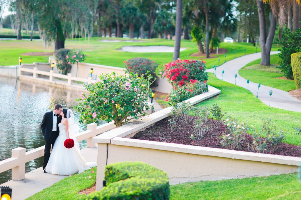 Bride & Groom Outdoor Venue | Red & Black Wedding Classic Romantic Dark Mission Inn Resort Anna Christine Events Wings of Glory Photography