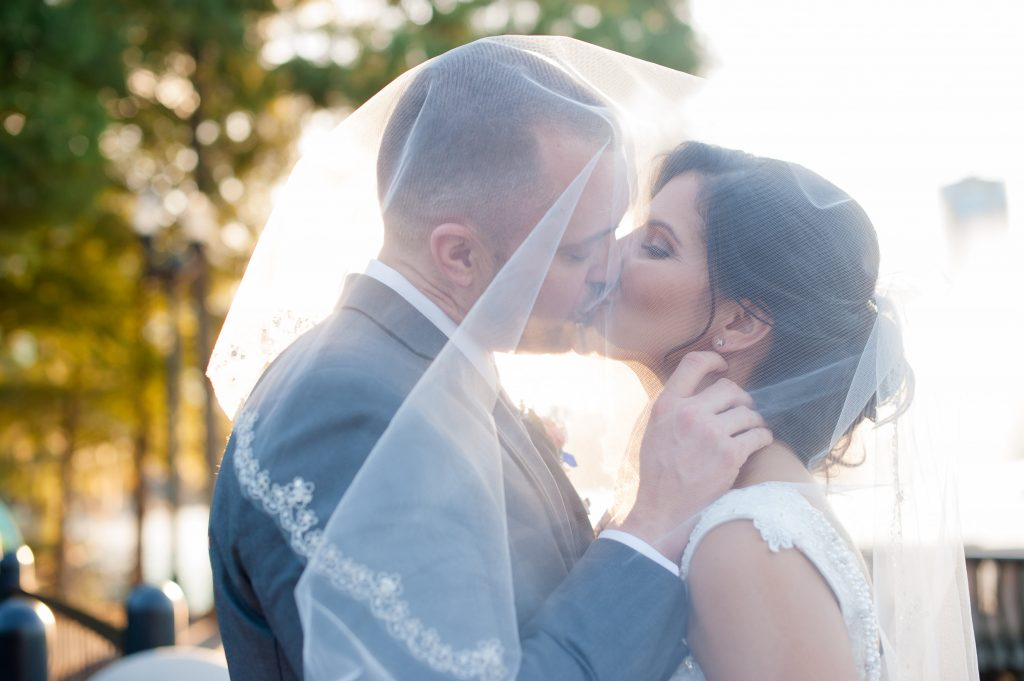 Bride & Groom Under Veil After Ceremony Photo Shoot | Blue & White Glamorous Wedding The Abbey The Mezz Anna Christine Events Kathy Thomas Photography