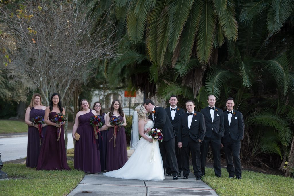 Bride & Groom Wedding Party Photo Shoot | Classic Purple & Orange Wedding Football Texas Longhorns Sports Lake Lucerne Courtyard Anna Christine Events Orlando Kathy Thomas Photography