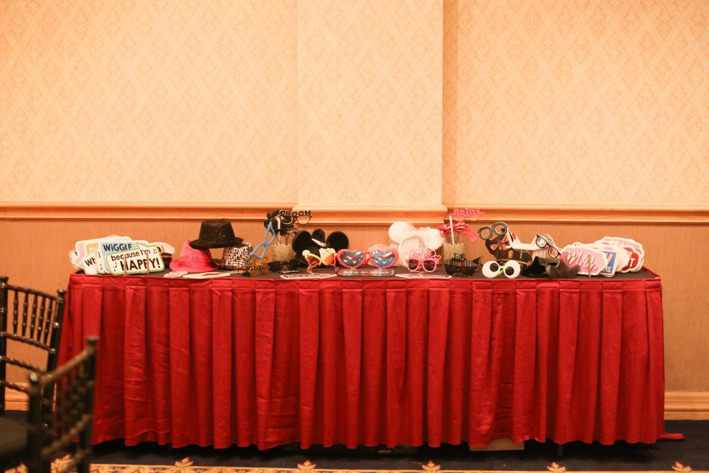Photo Booth Props Wedding Reception Party Shots Orlando | Red & Black Wedding Classic Romantic Dark Mission Inn Resort Anna Christine Events Wings of Glory Photography