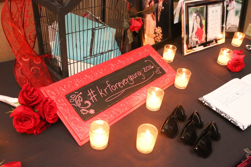 Personalized Customized Hashtag Chalkboard Sign Candles | Red & Black Wedding Classic Romantic Dark Mission Inn Resort Anna Christine Events Wings of Glory Photography