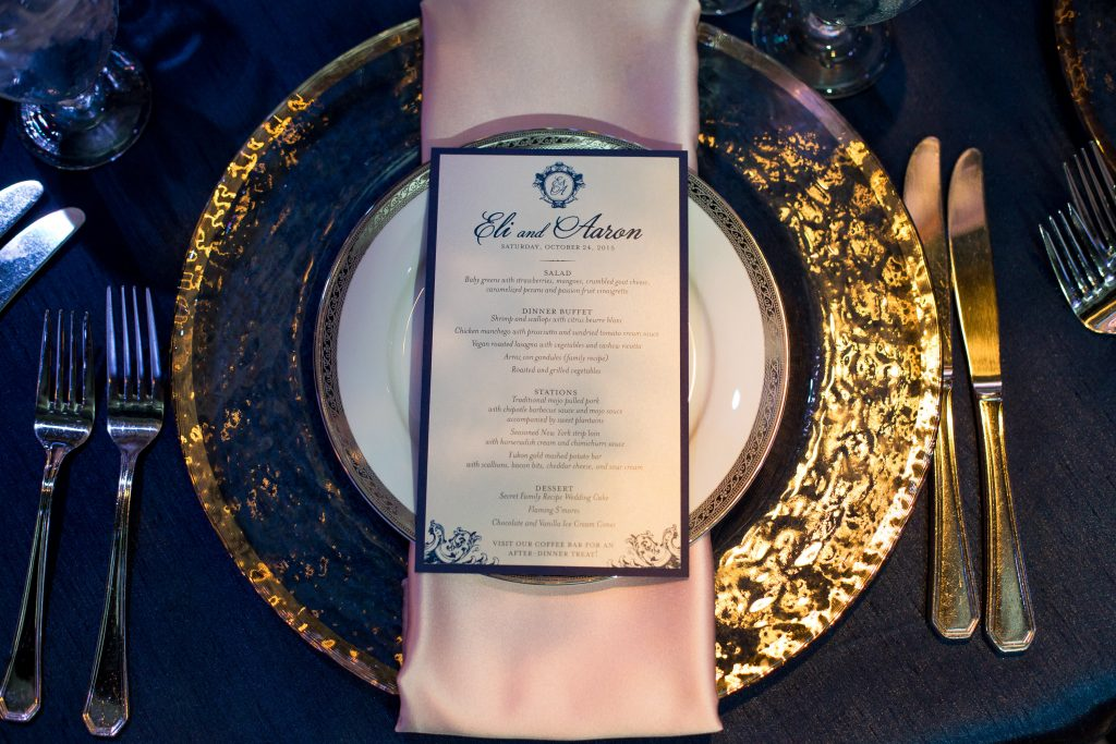 Table Setting Reception Menu Arthur's Catering | Blue & White Glamorous Wedding The Abbey The Mezz Anna Christine Events Kathy Thomas Photography
